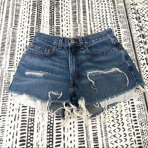"Levi's Vintage Distressed Cutoff Denim Shorts 27"""